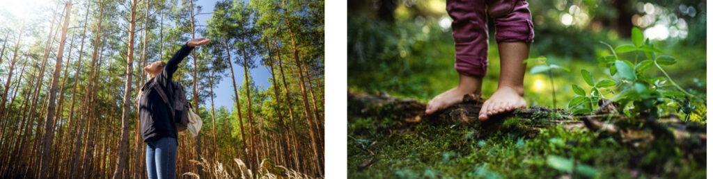 Retrato de una mujer feliz sonriendo caminando en el bosque con las manos extendidas. Concepto de libertad y armonía con la naturaleza / Pies desnudos de un niño pequeño que se encuentra descalzo al aire libre en la naturaleza, concepto fundacional.