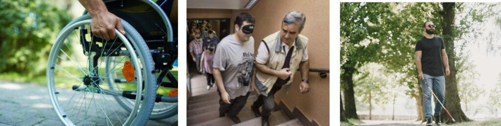 actividades de discapacidad simulada. Personas ciegas y con problemas de movilidad.