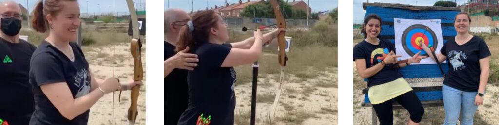 chica haciendo tiro al arco con la ayuda de un monitor