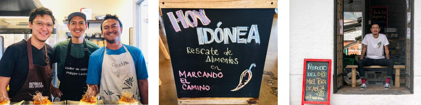 3 fotos en donde se ve al chef Santiago Rosero