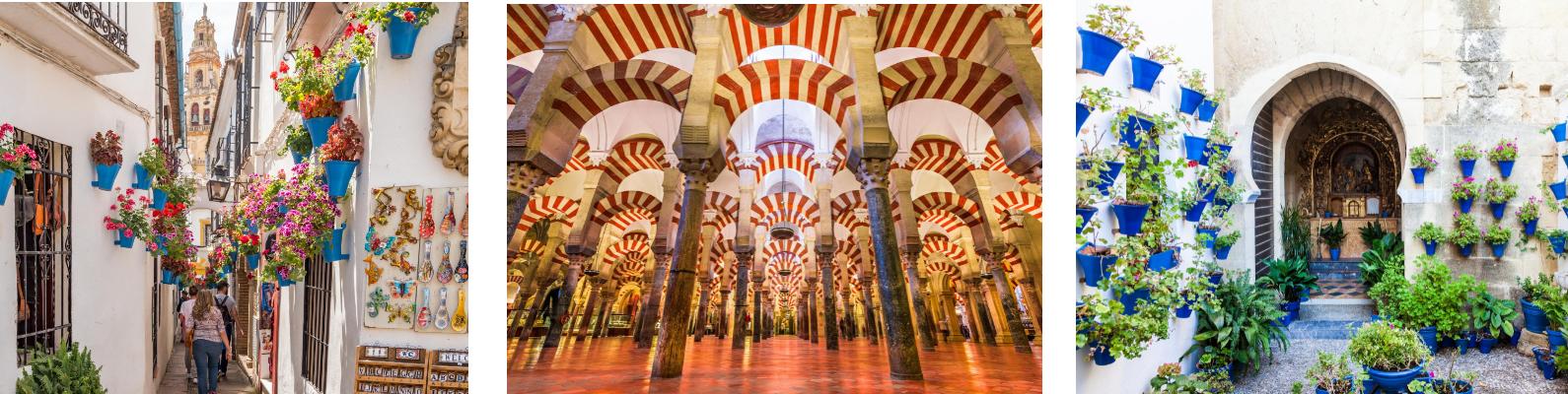 Calles con crisantemos, patio andaluz y la Mezquita Catedral de Córdoba