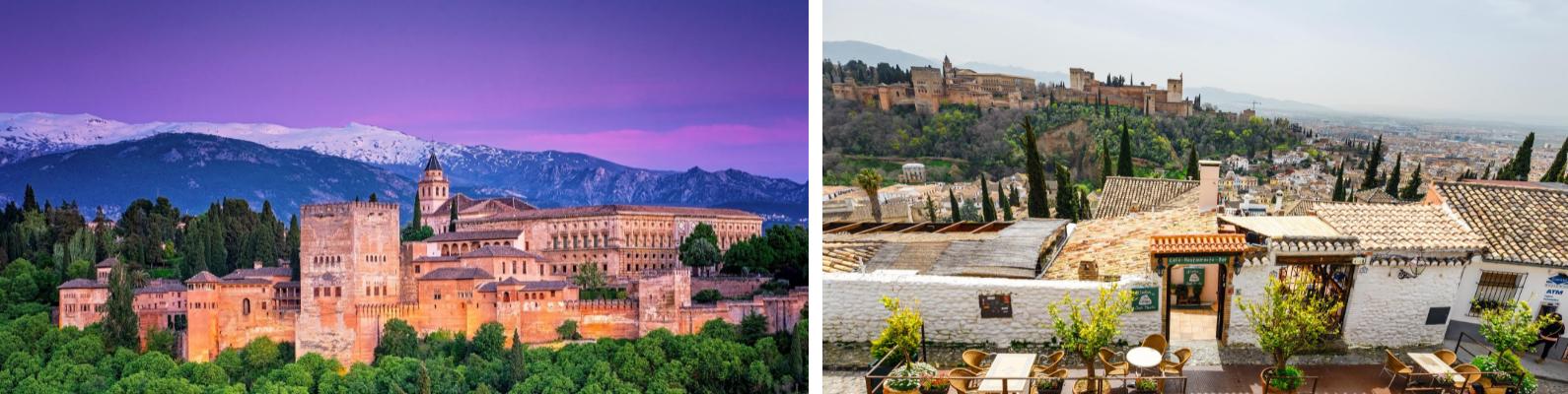 Vista de la Alhambra en el fondo vistas de Sierra Nevada y vistas del barrio del Albaicín y al fondo La Alhambra