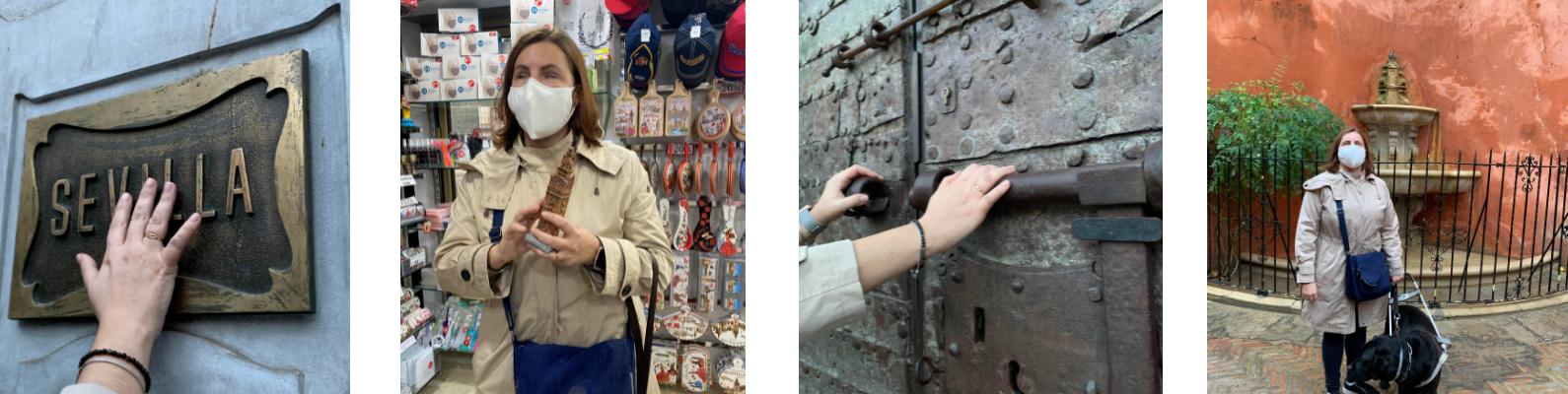 Chica ciega tocando varios objetos táctiles Correos de Sevilla, detalle de la puerta del Oro.