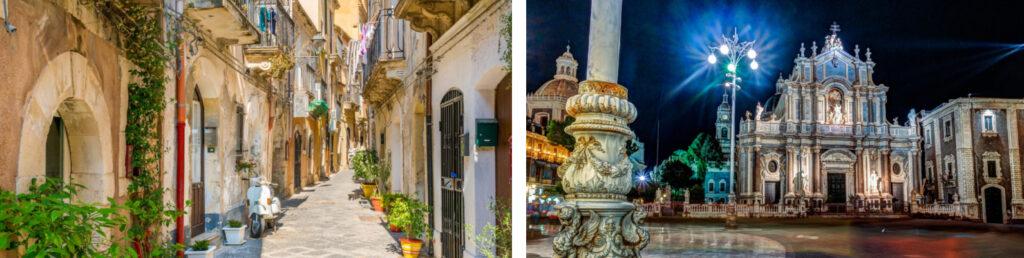 Calle pintoresca en Ortigia, casco antiguo de Siracusa y Plaza Catedral con edificio del ayuntamiento, Catania
