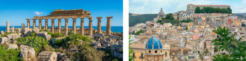 Ruinas en Selinunte, sitio arqueológico y antigua ciudad griega en Sicilia y Casas coloridas en el antiguo pueblo medieval de Ragusa