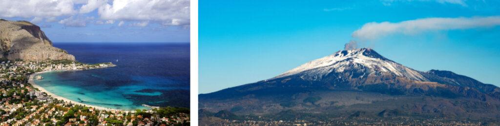 El monte Etna Volcán con cráteres de humo y Playa Mondello - Palermo