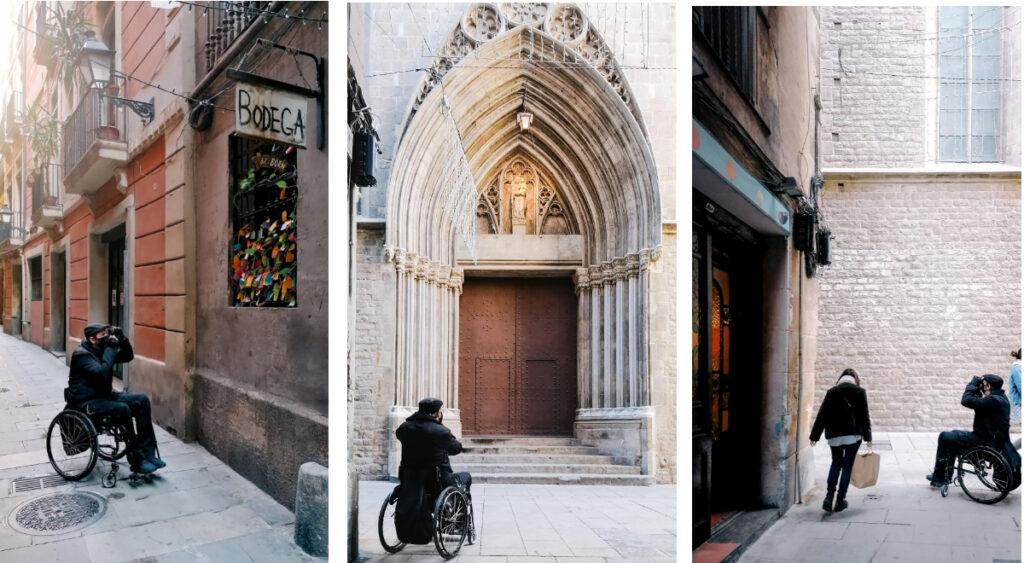 varias tomas del fotógrafo en silla de ruedas fotografiando el Barrio Gótico